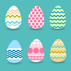 Easter Holiday Decorated Colorful Eggs Set Collection