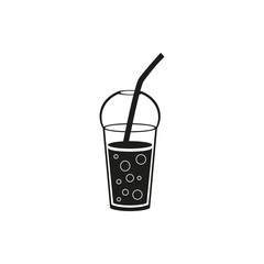 Simple black cup template for soda or cold beverage