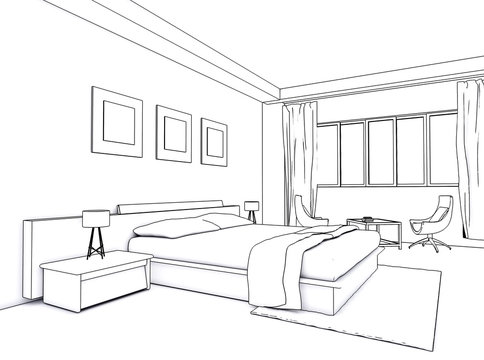 Architectural interior drawing, bedroom sketch