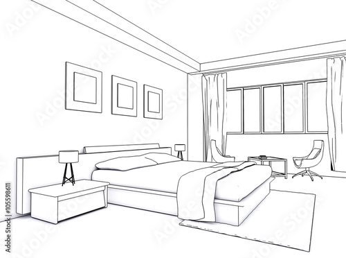 Architectural interior drawing bedroom sketch stock for Bedroom designs sketch