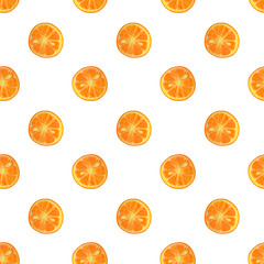 Seamless pattern with watercolor slices of orange