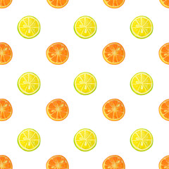 Seamless pattern with watercolor slices of lemon and orange