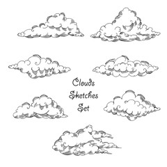 Background with clouds sketches