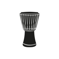 Vector illustration of djembe on white background
