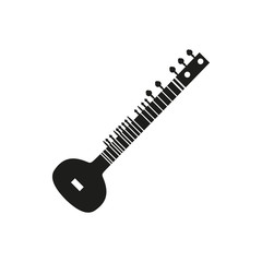 Vector illustration of acoustic sitar on white background