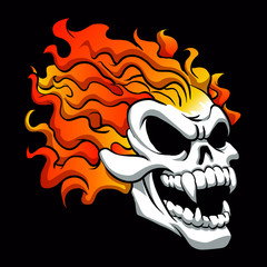 Burning skull on black background