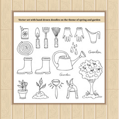 Fototapeta Vector set with hand drawn doodles on the theme of spring and ga obraz
