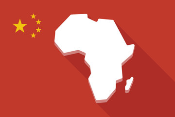 China long shadow flag with  a map of the african continent