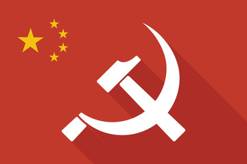 China long shadow flag with  the communist symbol