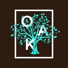 Beautiful green oak tree silhouette on brown background. Infographic modern vector sign. Premium quality illustration letters logo design concept.