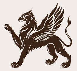Griffin black with wings. Vector icon. Gryphon symbol