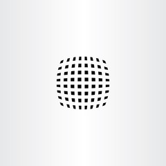 black curved halftone square vector abstract icon