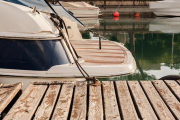 Boats in the harbor on Lake Garda. Peschiera del Garda, Italy