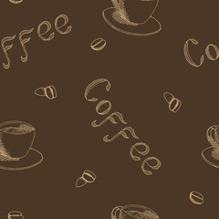 Coffee cup text corn brown seamless pattern illustration vector