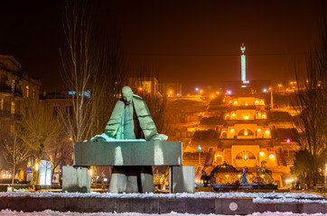 Statue of Alexander Tamanian and Cascade Alley in Yerevan
