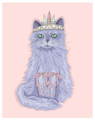 Cute purple cat princess with crown and ribbons. Fairytale vecto