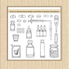 Vector set with hand drawn doodles on the theme of pharmacy and