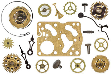 Spare parts for clock. Metal gears, cogwheels and other details