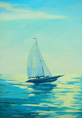 yacht with sail at the morning mediterranean seaside, painting