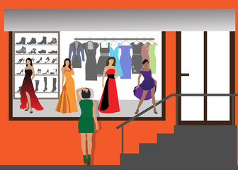 Fashion shop of clothes and footwear. Color vector illustration.