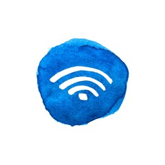 Wireless network symbol on bright blue watercolor spots for your design. Original abstract wi-fi icon. Internet theme. Vector