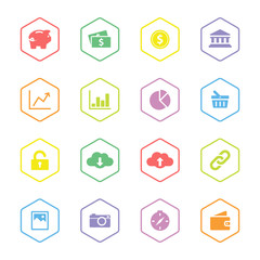 colorful flat finance and technology icon set with hexagon frame for web design, user interface (UI), infographic and mobile application (apps)