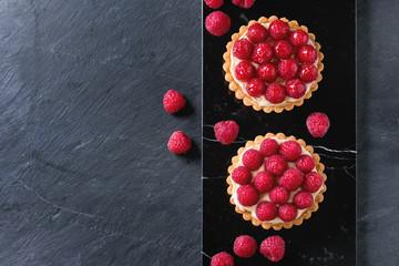 Wall Murals Dessert Tartlet with raspberries