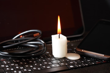 Candle On Laptop