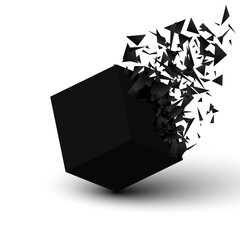 Black cube explosion. Abstract geometric background. Vector illustration