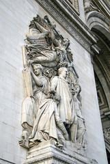 PARIS, FRANCE - NOVEMBER 27, 2009: Architectural detail of the Arc de Triomphe de l'Etoile, Paris, France