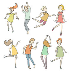Set of sketch dancing people in different poses. Doodle collection of cartoon dancers, women and men funny characters. Hand drawn vector illustration isolated on white background.