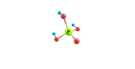 Phosphoric acid molecular structure isolated on black