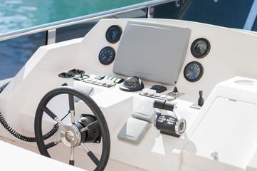 Captain wheel on the luxury yacht