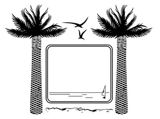 Black and white frame with palm tree silhouette
