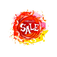 Vector colored blot with Hello Sale tag