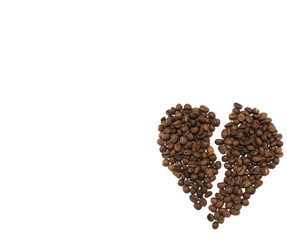 Brocken heart made of roasted coffee beans