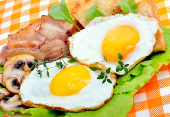 English breakfast - egg, toast,  bacon and salad.
