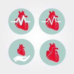 Human heart icon set with cardiogram and human hand. Medical icons