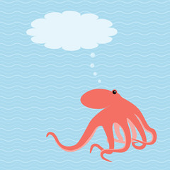 Vector card with octopus and place for text
