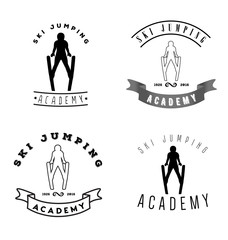 Set of logos with jumping skier silhouette. Winter Sport logotype