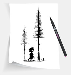 Illustration of the little boy in forest at night
