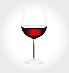 Realistic glass of red wine in vector.