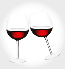 Realistic glass of red wine in vector. Two glasses of red wine clink