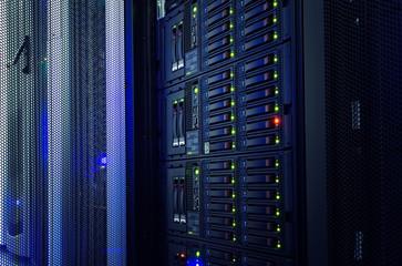 Fototapeta modern mainframe disk storage in the data center