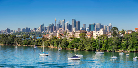 Looking across Cremorne Point from Mosman Bay to the city of Sydney