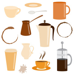 Set of coffee related icons