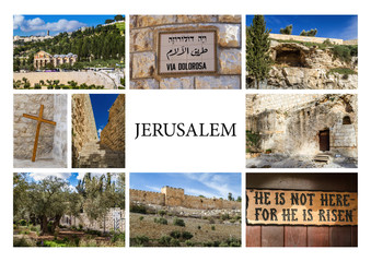 Landmarks of Jerusalem - photo collage