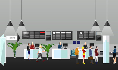 Airport terminal concept vector illustration. Design elements and banners in flat style. Travel