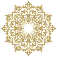 Oriental vector pattern with arabesques and floral elements. Traditional classic golden round ornament