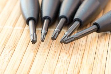 Precious torx screwdriver tips together